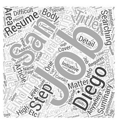 Your Guide To Finding Jobs In San Diego Word Cloud vector image