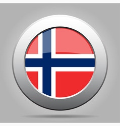 metal button with flag of Norway vector image vector image