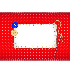Stitched patch with buttons and needle vector image