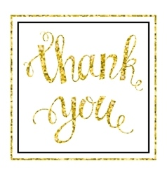 Thank you Gold glittering lettering vector image