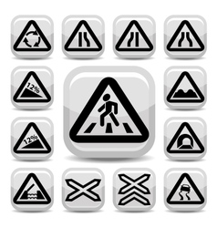 traffic auto signs set vector image vector image