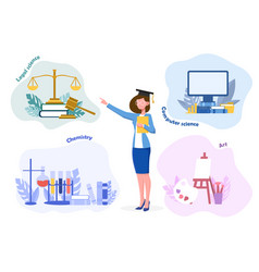 A young girl chooses future profession vector