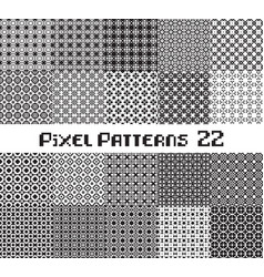 abstract seamless pattern in pixel style set vector image
