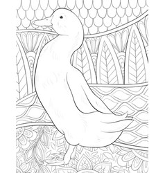 Adult coloring bookpage a cute duck on the vector