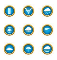 Atmospheric condition icons set flat style vector