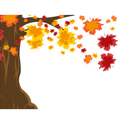 Autumn tree and falling foliage on white vector
