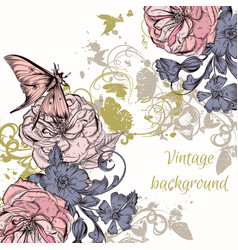 background with hand roses engraved style vector image