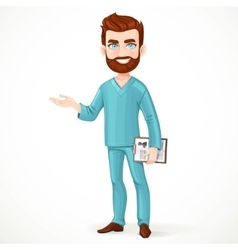 Bearded doctor in green surgical suit holding vector