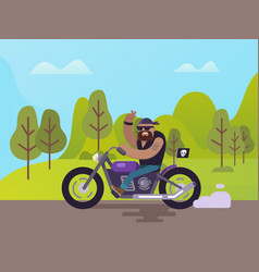 biker on motorbike showing horn sign gesturing vector image