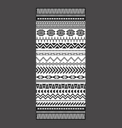 black and white tribal embroidery towel design vector image