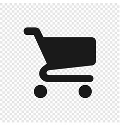 black shopping cart icon on transparent background vector image
