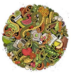 cartoon doodles diet food vector image