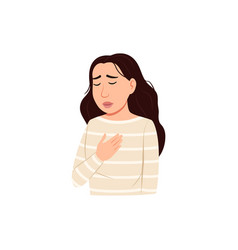 Chest pain icon sick woman difficulty breathing vector