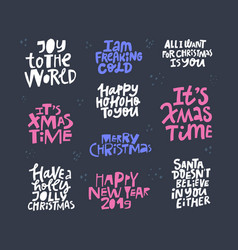 christmas hand drawn color lettering set vector image