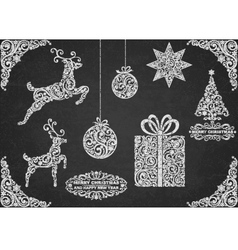 Christmas Symbols Hand Drawn vector image
