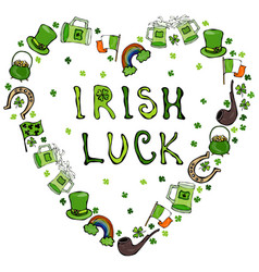 Collection of irish symbols irish luck lettering vector