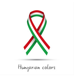 Colored ribbon with hungarian tricolor vector