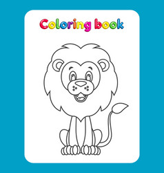coloring book page for children with cartoon lio vector image