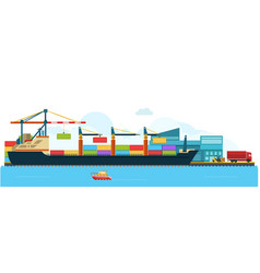 Container cargo freight ship with working crane vector