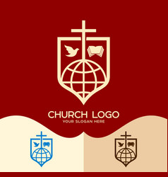Cross of jesus the bible the dove and the globe vector