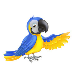Cute blue and yellow parrot vector
