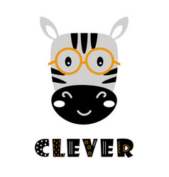 Cute cartoon zebra face on white background vector