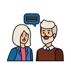 Cute grand parents couple with speech bubble vector