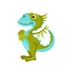 Cute green dragon with blue belly and muzzle vector