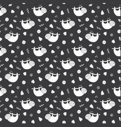 cute sloth seamless pattern cartoon hand drawn vector image