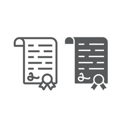 Diploma line and glyph icon school and education vector