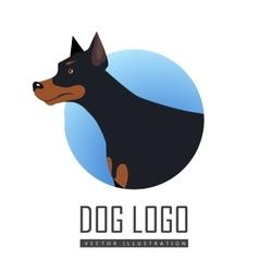Dog Logo in Flat Style Design vector image