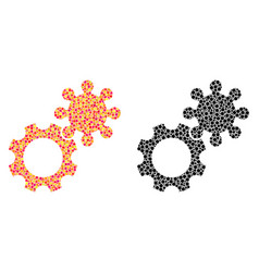 Dot gears mosaic icons vector