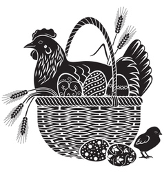 Easter woodcut vector