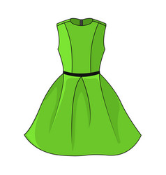 elegant green dress with belt template vector image