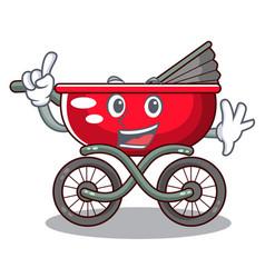 Finger modern baby stroller isolated against vector