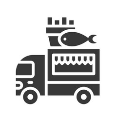 Fish and chips truck food truck solid style icon vector