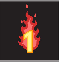 Flaming number one vector