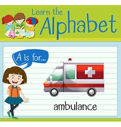Flashcard letter A is for ambulance vector