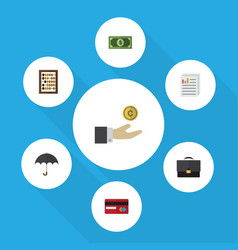Flat icon finance set of counter greenback vector