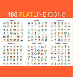 flat thin line icons vector image