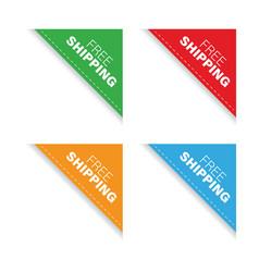 free shipping corner ribbon vector image