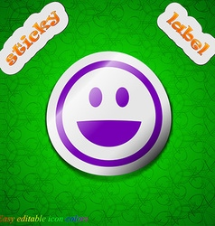 funny Face icon sign Symbol chic colored sticky vector image
