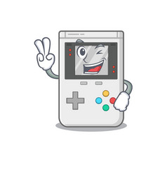 Funny handheld game scroll cartoon character with vector