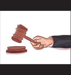 gavel in hand isolated on white symbol of justice vector image