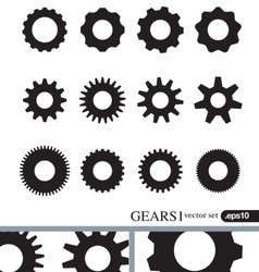 Gear icons design elements Gears Silhouettes set vector
