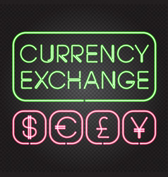 Glowing neon lights currency symbols vector