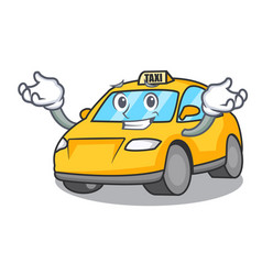 Grinning taxi character cartoon style vector