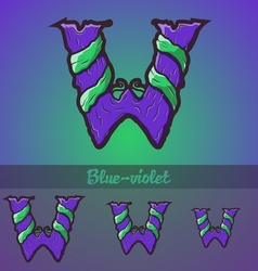 Halloween decorative alphabet - W letter vector