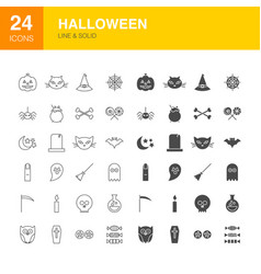 halloween line web glyph icons vector image