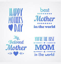 happy mothers day lettering calligraphic emblems vector image
